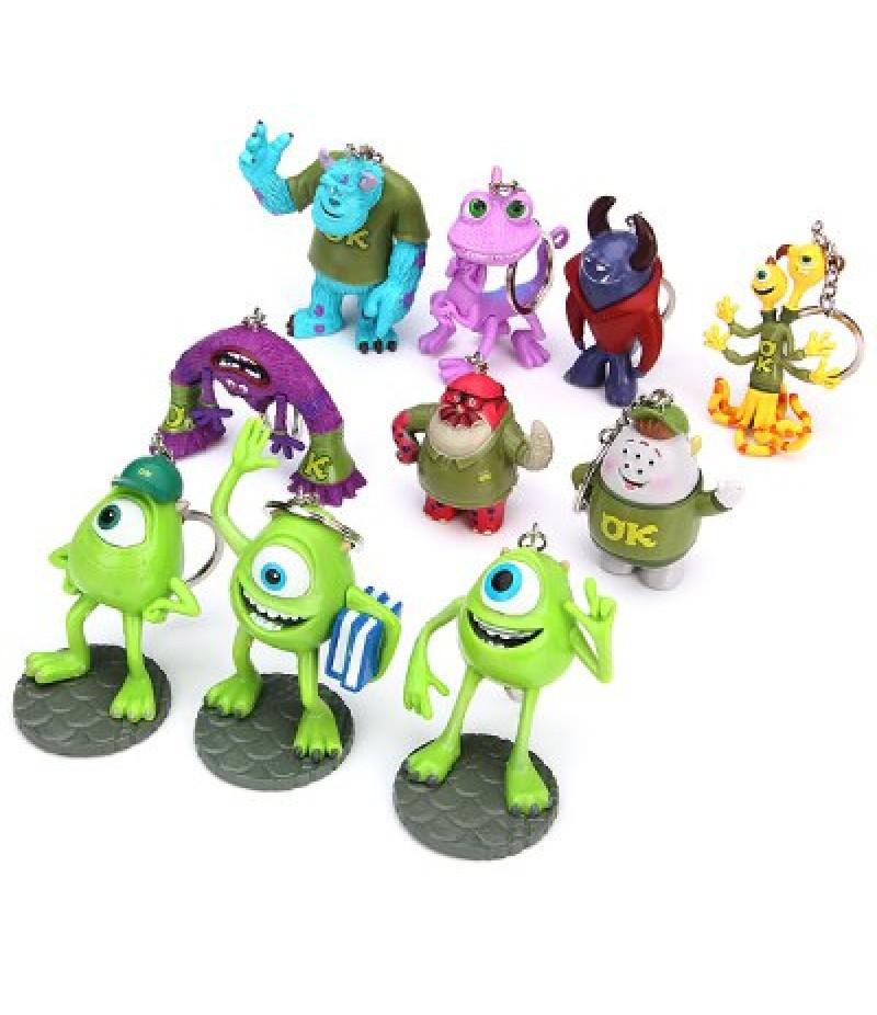 10Pcs Monster Inc Figures Key Rings Cute 3D Anime Figure Models