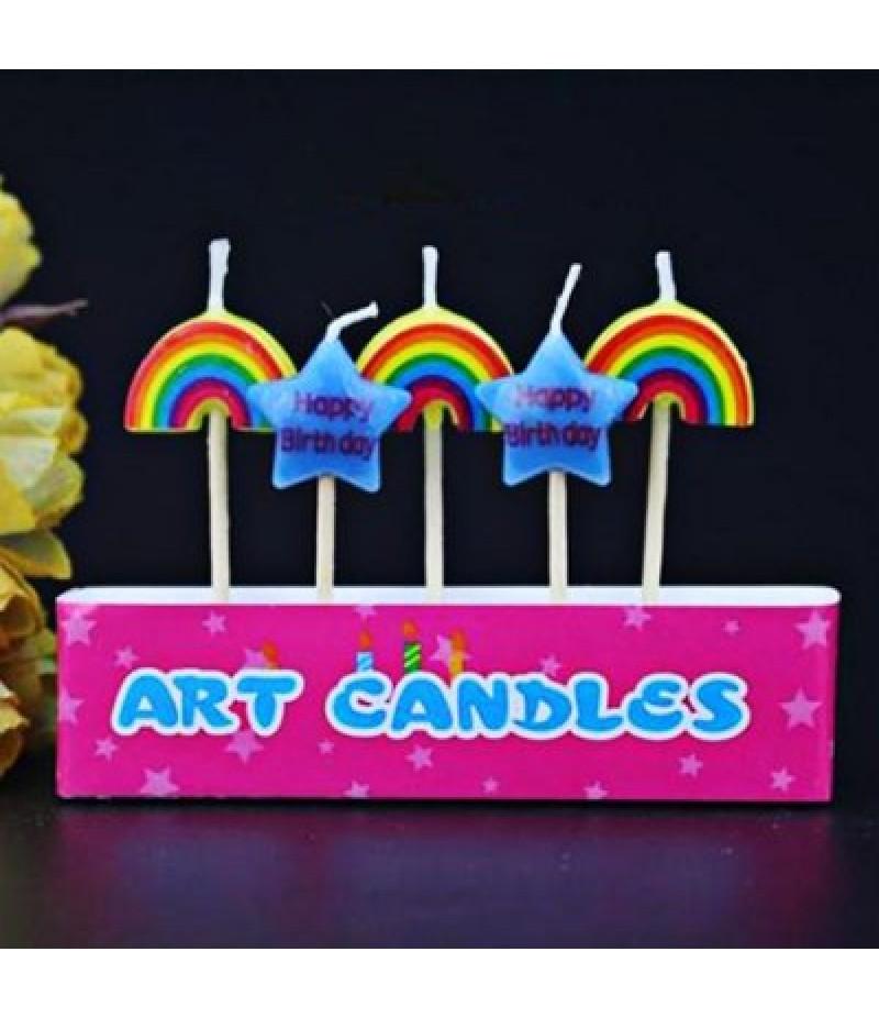 5Pcs Pentagram and Rainbow Cartoon Birthday Candle