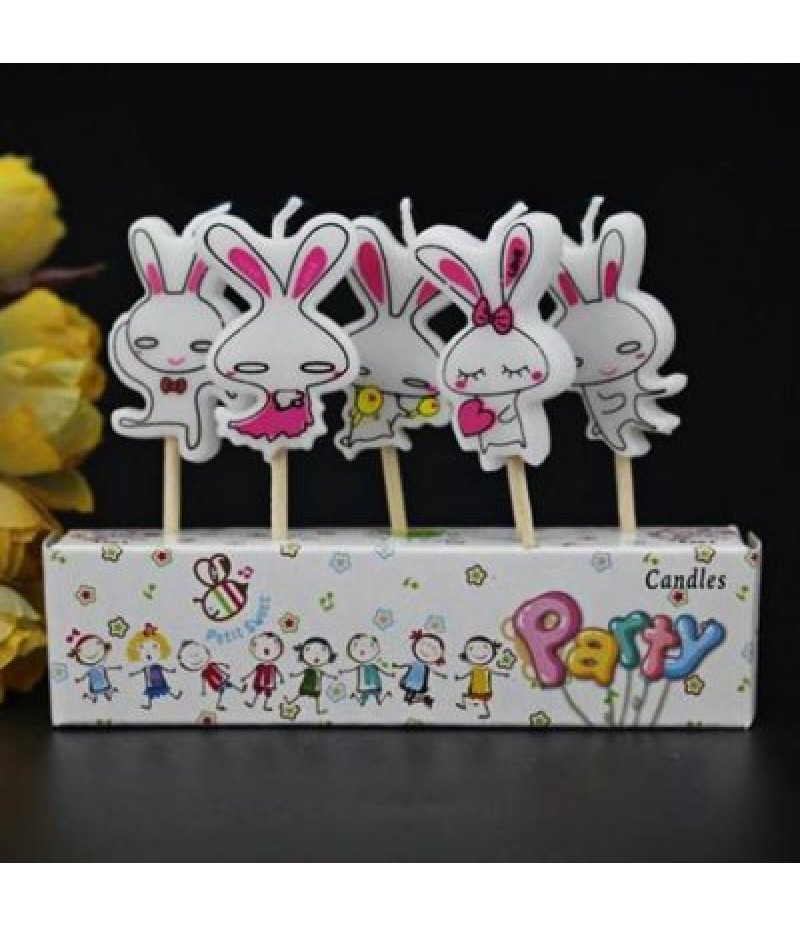 5Pcs Rabbit Cartoon Birthday Candle