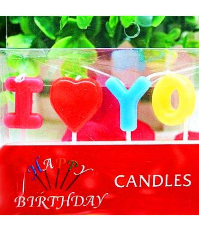 I Love You Style Cartoon Birthday Candle Set