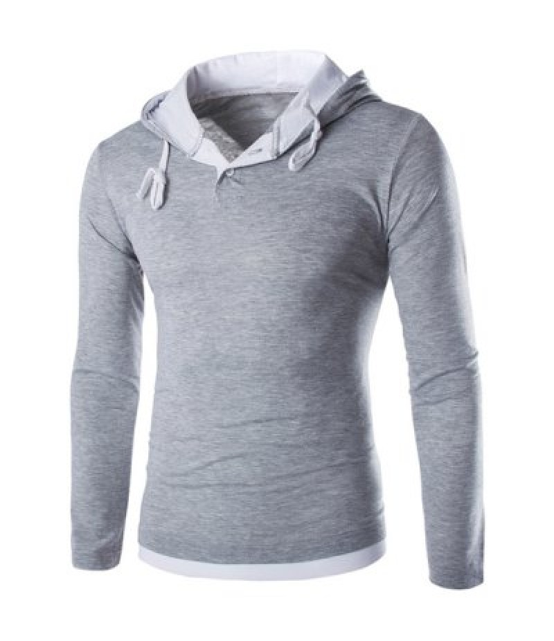 Hooded Color Block Panel Polyester T-Shirt