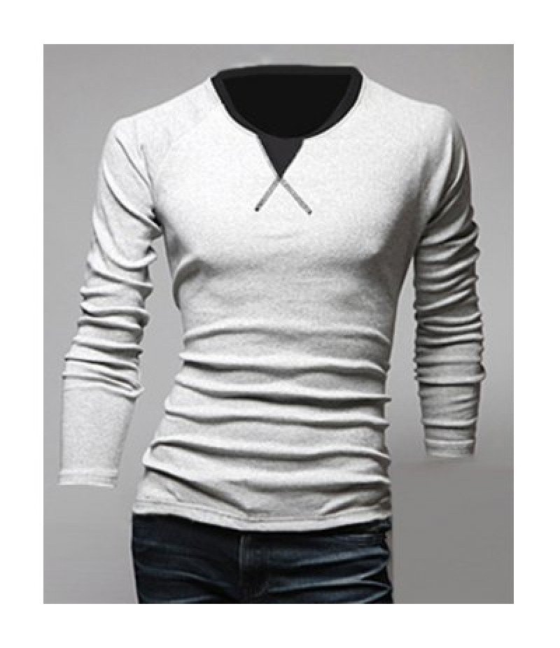 Classic Color Block Triangle Pattern Slimming Round Neck Long Sleeves Men's Linen Blended T-Shir