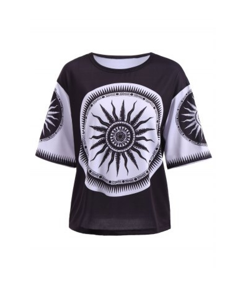 Casual Round Neck Short Sleeve Printed T-Shirt For Women