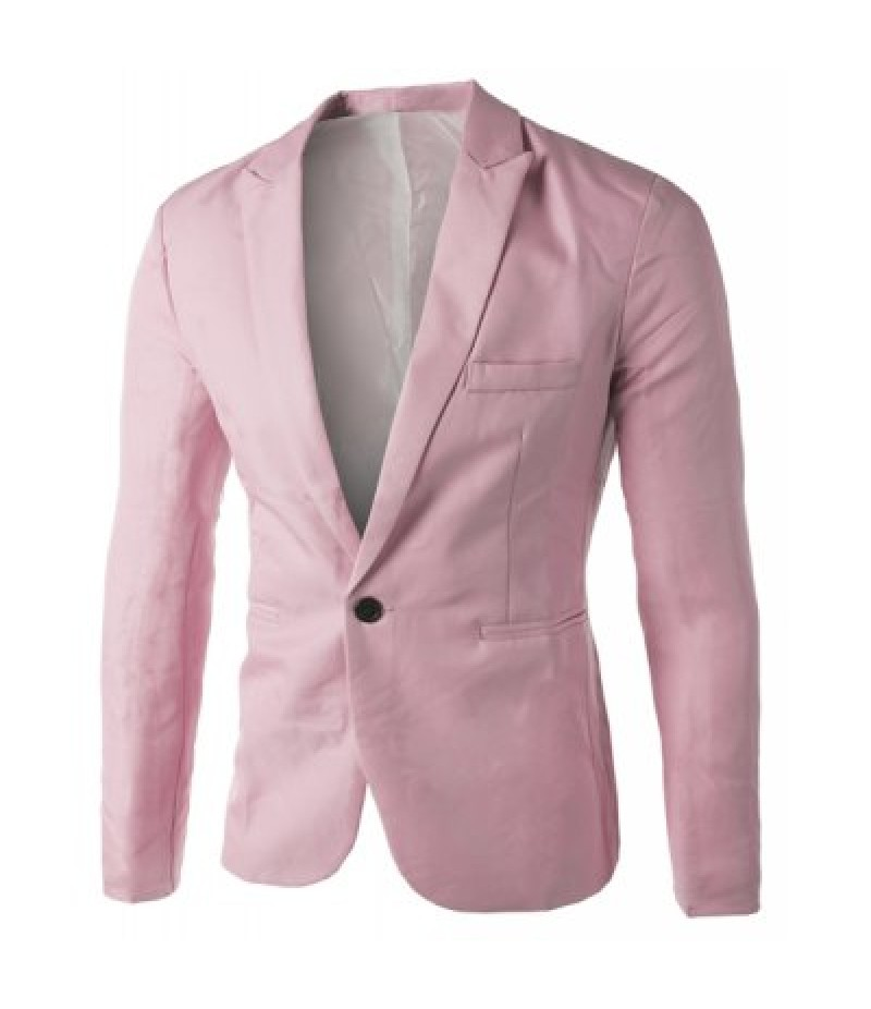 Casual Tailored Collar Single Button Solid Color Blazer For Men