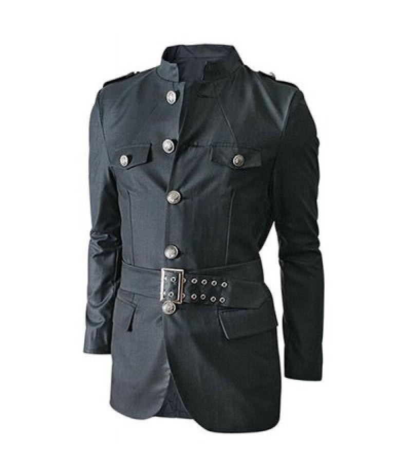 Multi-Pocket Epaulet and Belt Design Stand Collar Long Sleeves Jacket For Men