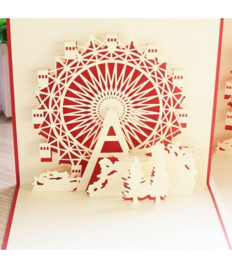 Cute 3D Paper Hollow Out Christmas Postcards