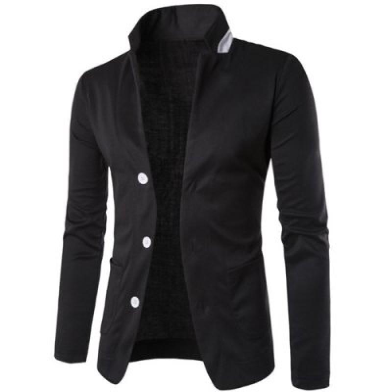 Stereo Pocket Color Block Lapel Long Sleeves Single-Breasted Blazer For Men