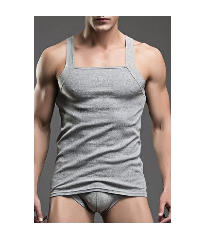 Sexy Close-Fitting Solid Color Men's Tank Top+Penis Pouch Briefs