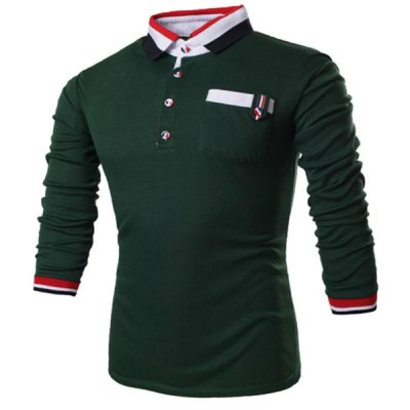Turn-Down Collar Long Sleeve Color Block Stripe Spliced Polo T-Shirt For Men
