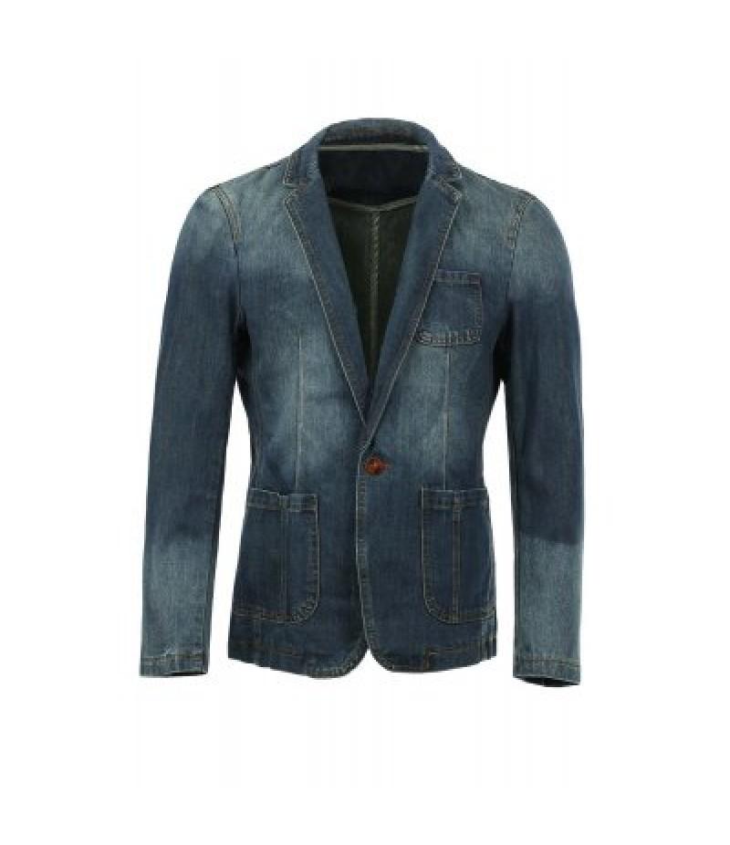 Vogue Lapel Stereo Patch Pocket Long Sleeves Ombre Denim Blazer For Men