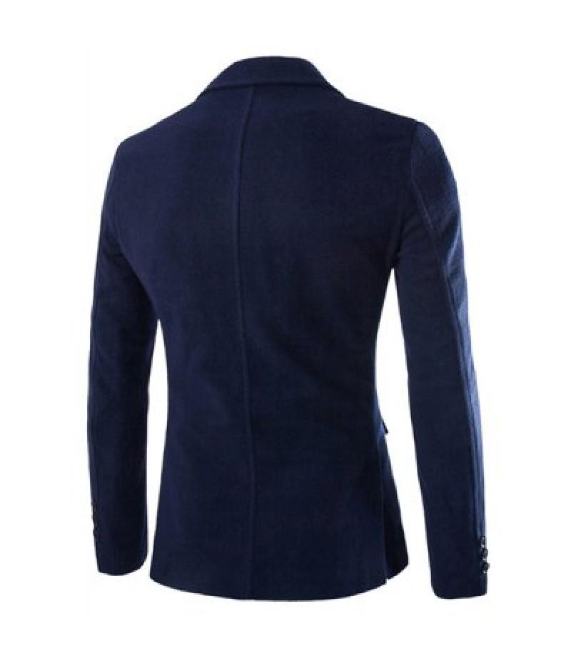 Turn-Down Collar Flap Pocket Long Sleeve Men's Blazer