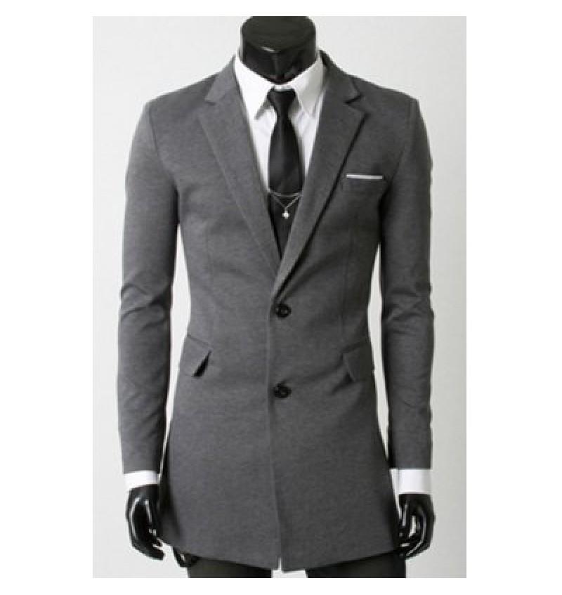 Turn-Down Collar Flap Pocket Long Sleeve Men's Long Blazer