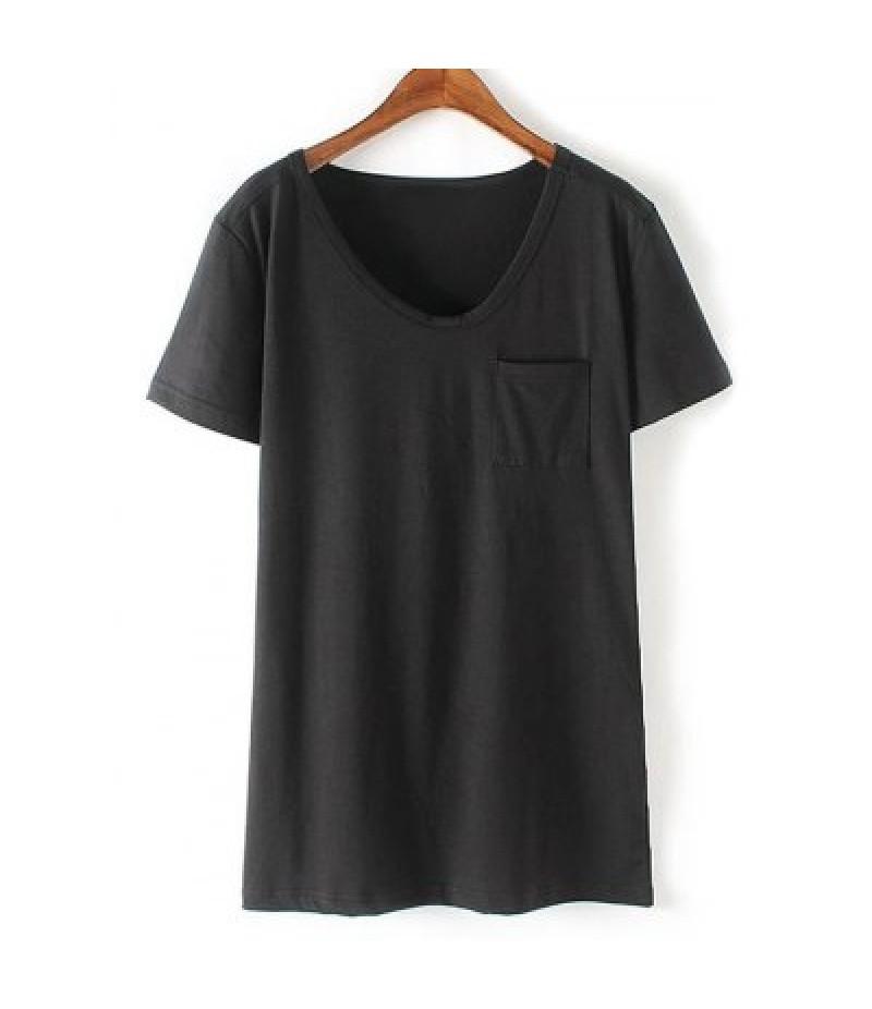 Casual Round Neck Short Sleeve Patchwork Pocket Women's T-Shirt