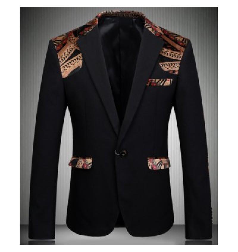 Turn-Down Collar Elbow Patch Splicing Long Sleeve Men's Blazer