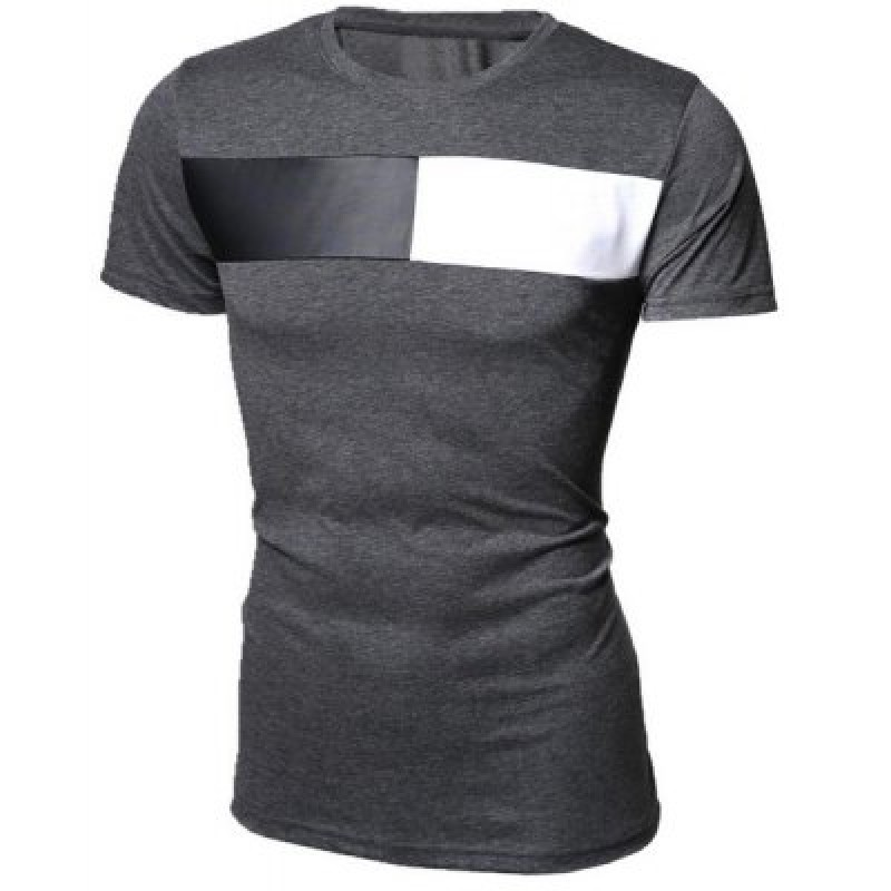 Round Neck Color Block PU-Leather Splicing Short Sleeve Men's T-Shirt