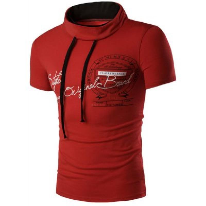 Print Short Sleeve Red T Shirt