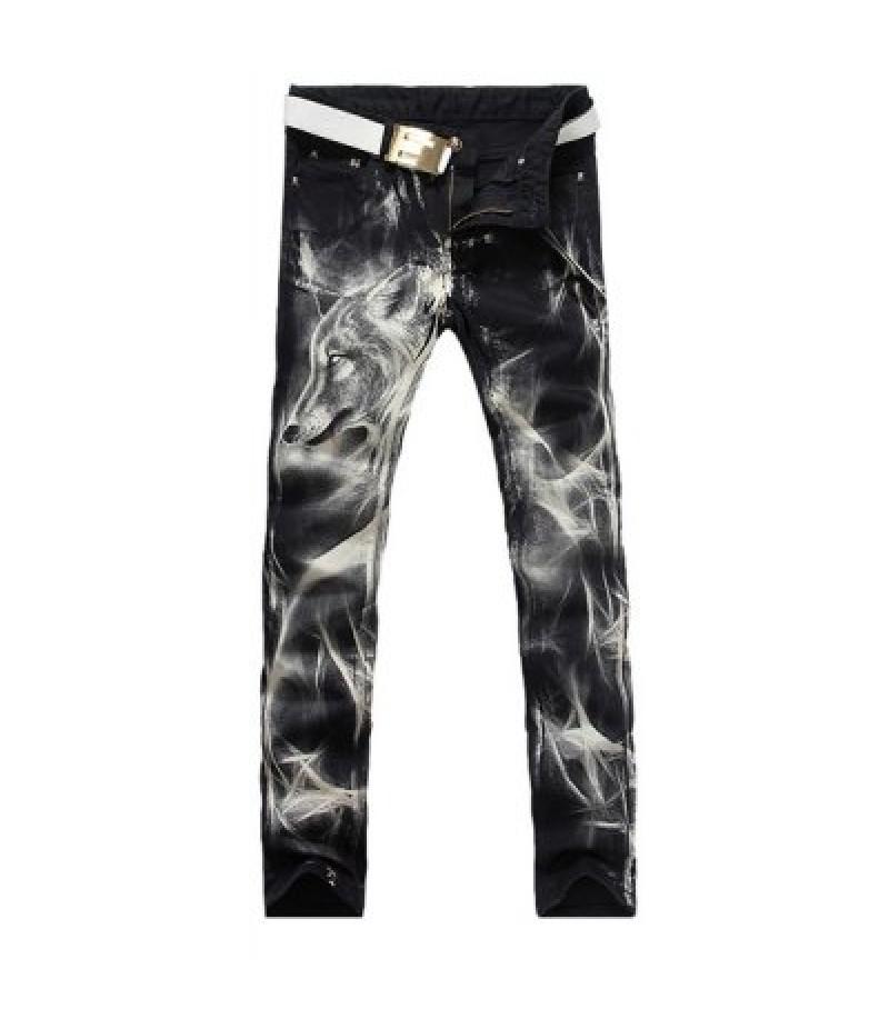 Casual Zip Fly Wolf Printing Straight Legs Denim Pants For Men