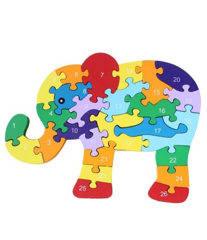26pcs Colorful Wooden Elephant Puzzle Toy
