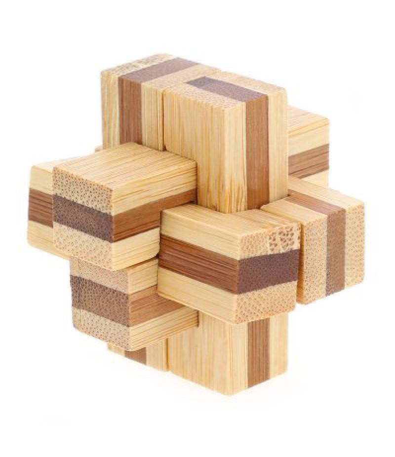 3D Interlocking 6-pieces Cross Wooden Burr Puzzle