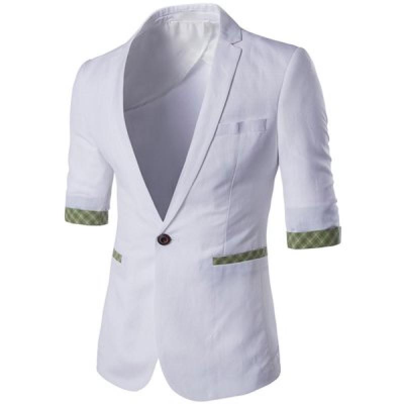 Fashion Plaid Cuff Single Button Blazer For Men