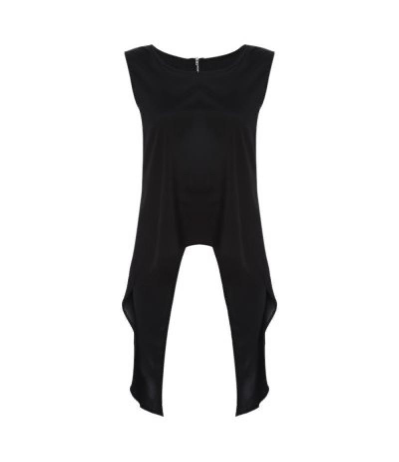 Fashionable Round Collar Sleeveless Asymmetric Back Zipper Pure Color Women T-shirt
