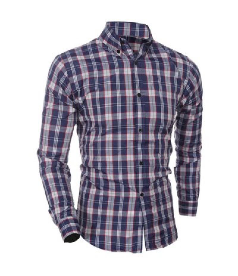 Casual Turn Down Collar Plaid Printing Shirt For Men