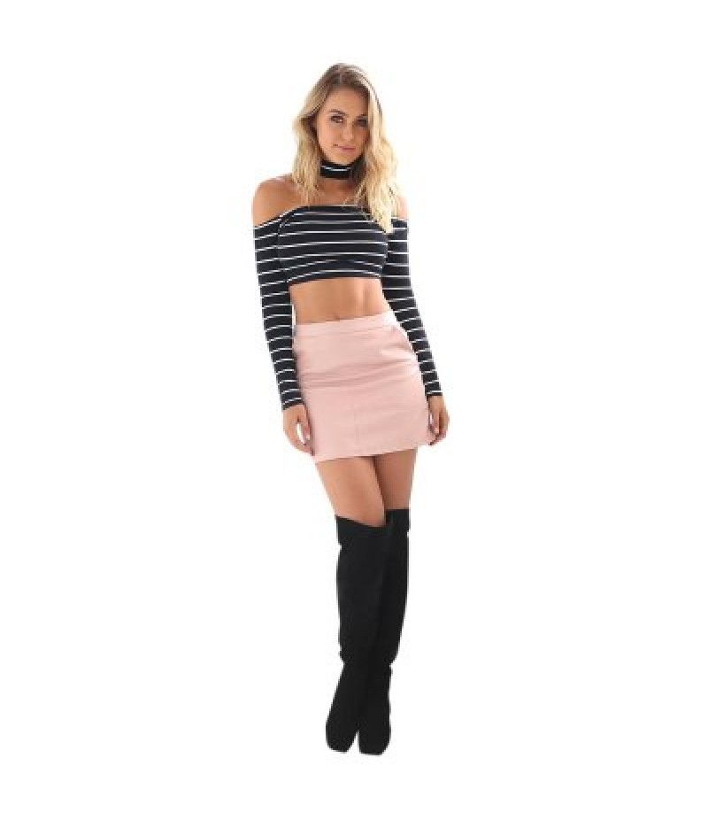 Sexy Halter Boat Neck Off-the-shoulder Long Sleeve Back Zipper Stripe Print Women Crop Top