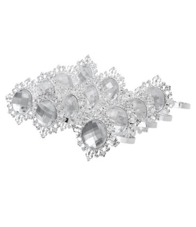12pcs Acrylic Silver-plated Napkin Ring