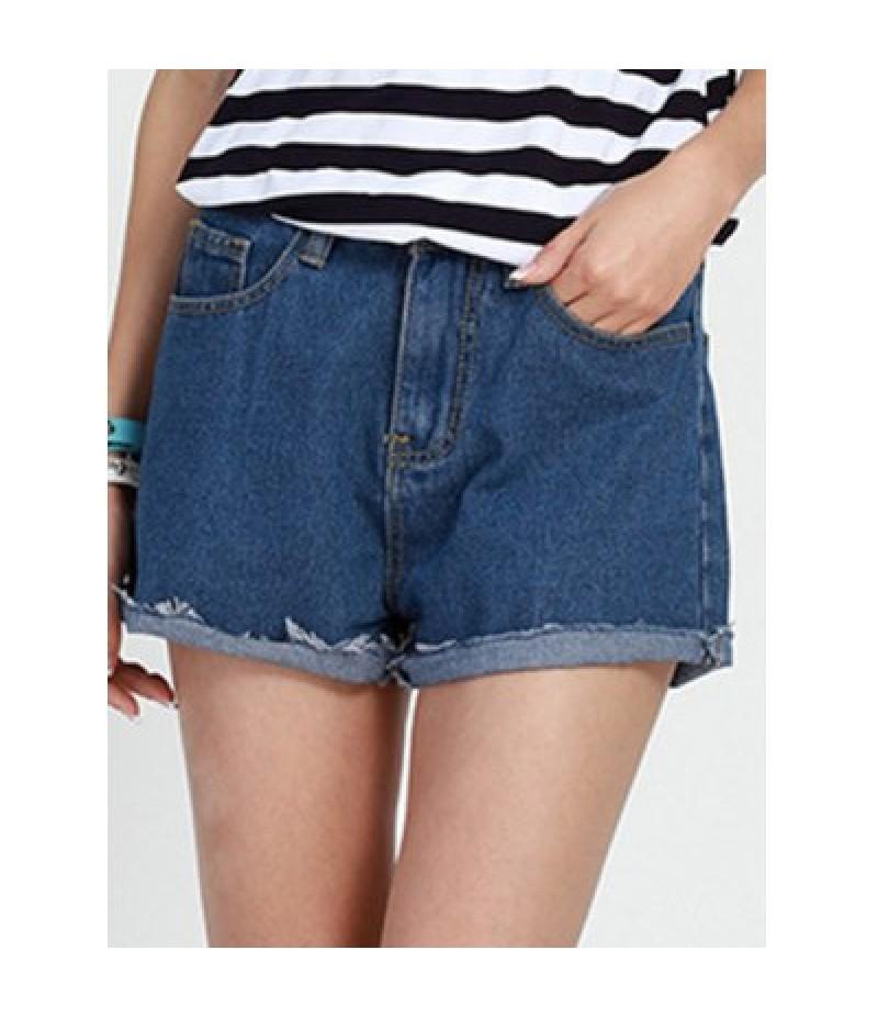 Casual Mid Waist Baggy Denim Shorts