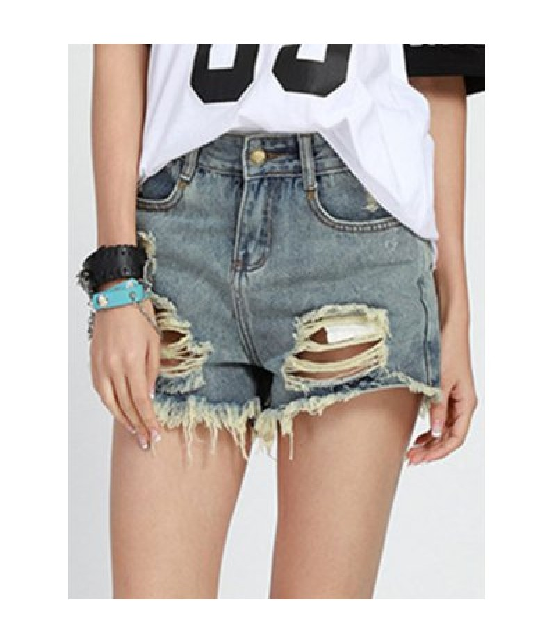 Chic Mid Waist Button Design Denim Ripped Shorts Women