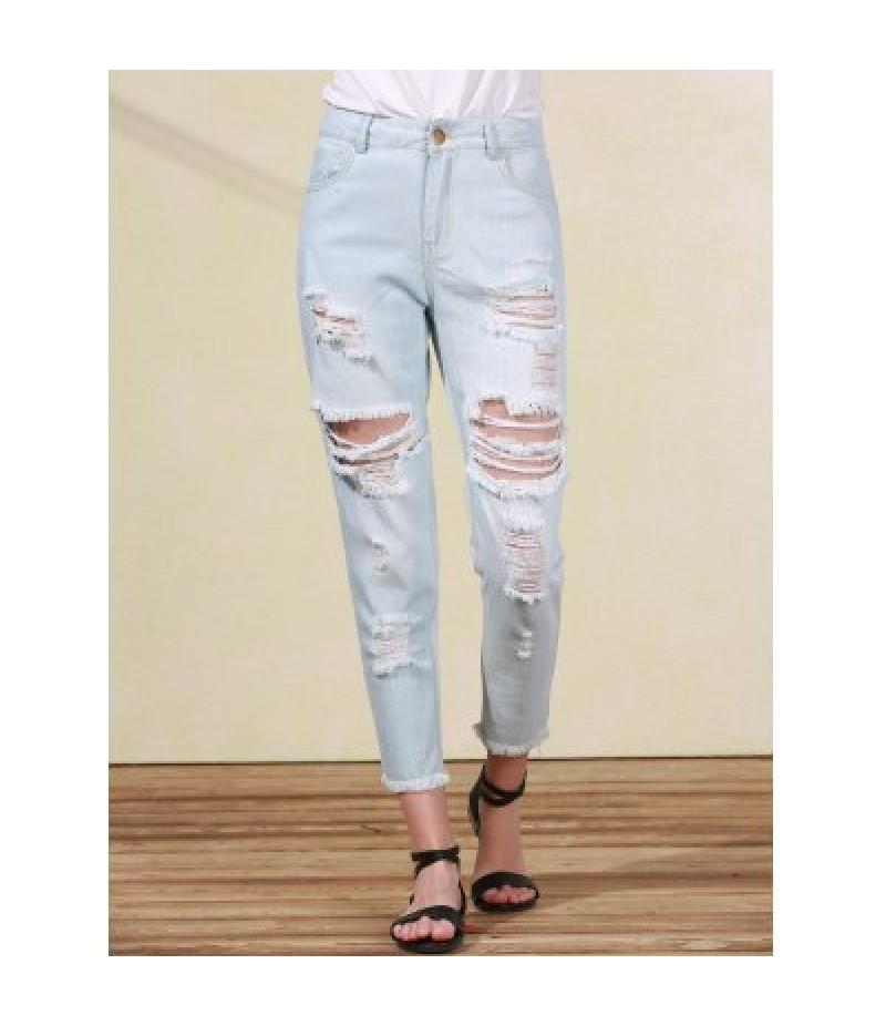 Bleach Wash Frayed Distressed Boyfriend Jeans For Women