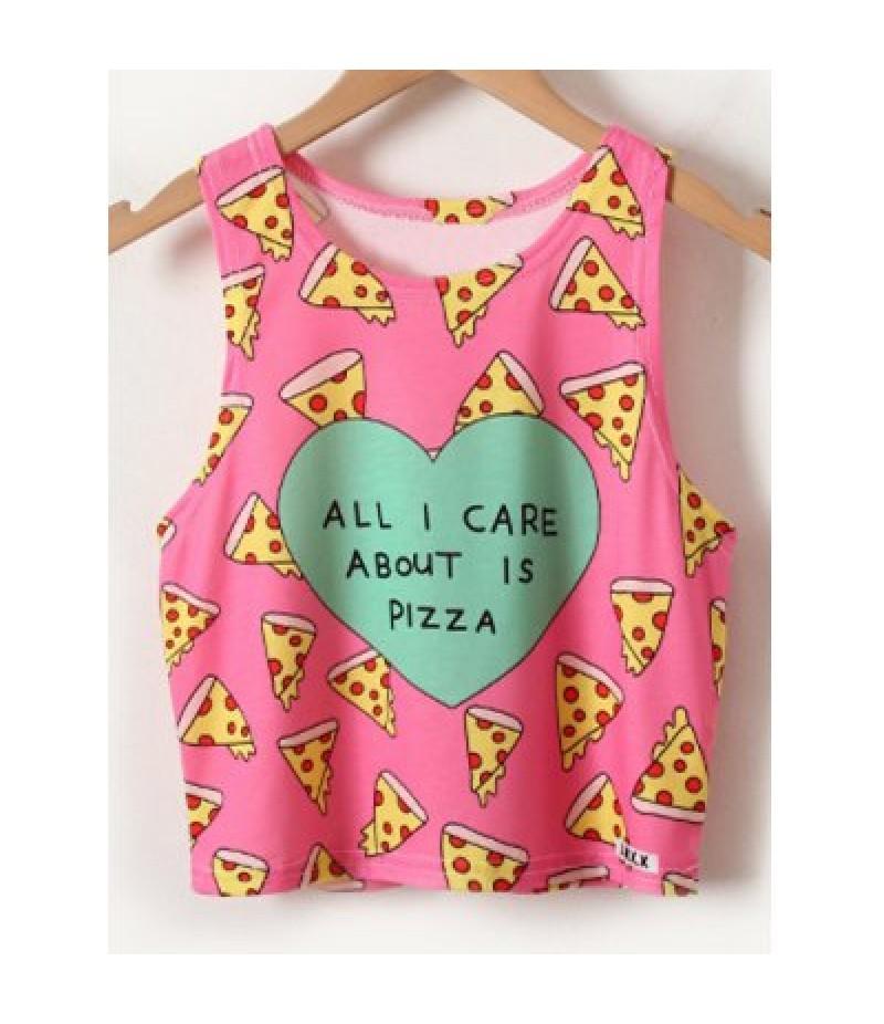 Chic Women's Pizza Print Tank Top