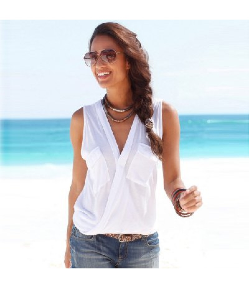 Casual Plunging Neck Pocket Design Pure Color Cotton Blend Women Wrap Tank Top