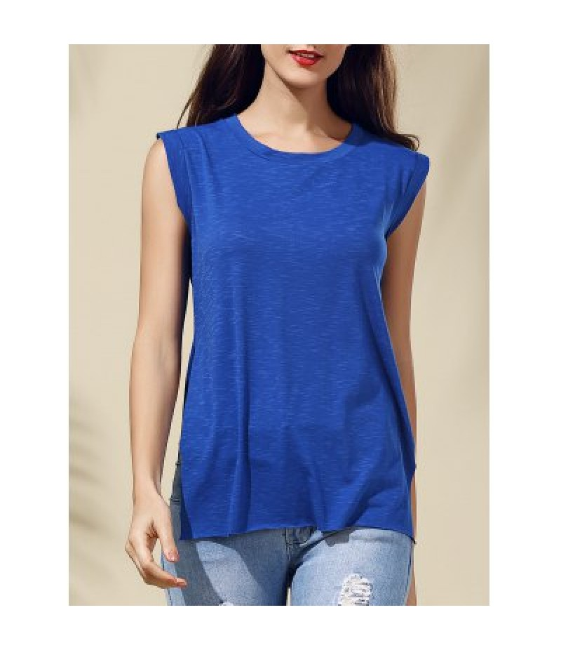 Chic Women's Sleeveless Blue Furcal T-Shirt