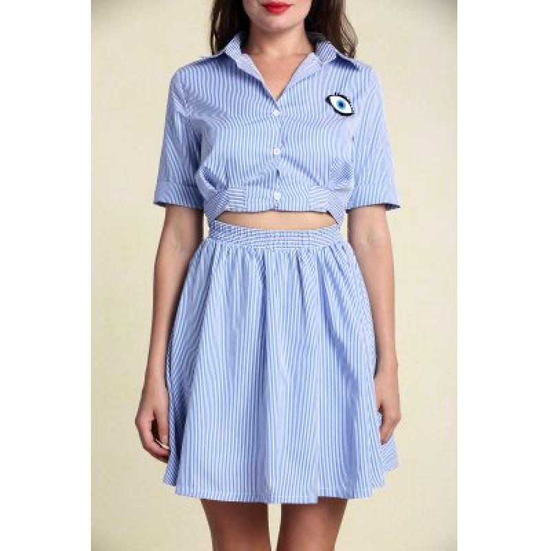 Stylish Women's Hollow Out Short Sleeve Striped Shirt Dress