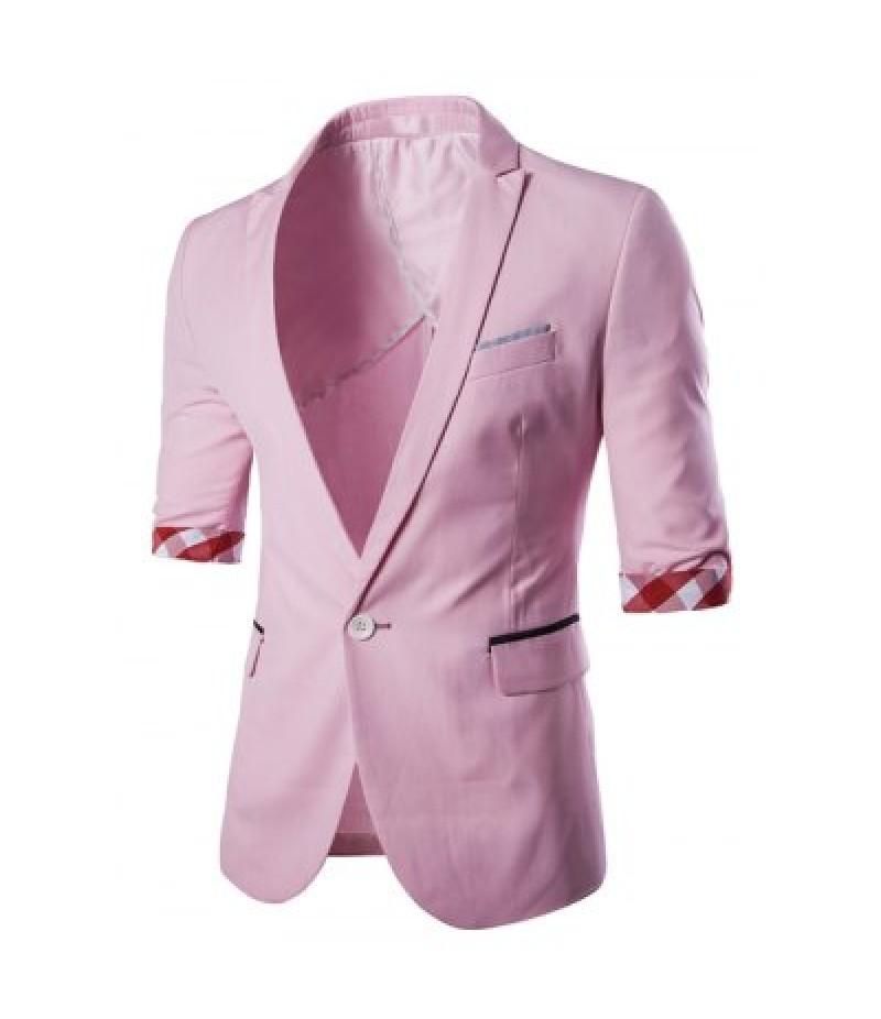 Casual Three Quarter Sleeve Solid Color Blazer For Men