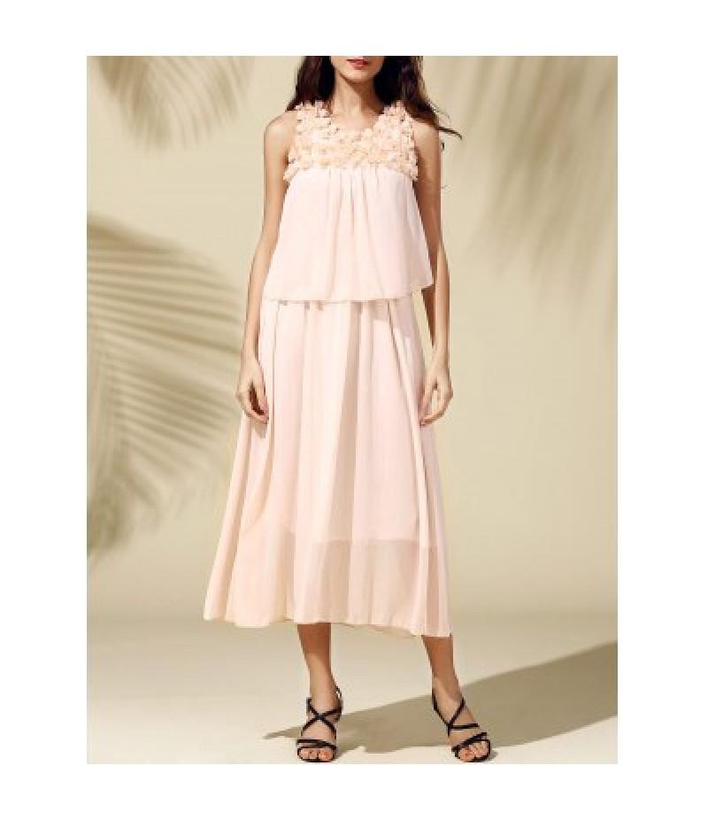 Bohemian Beach Scoop Neck  Sleeveless Chiffon Maxi Dress For Women
