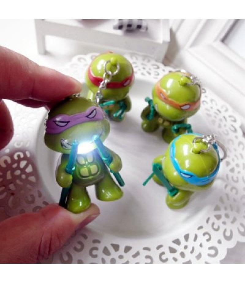 5.7cm 1PC LED Lighting Sound Turtle Key Chain