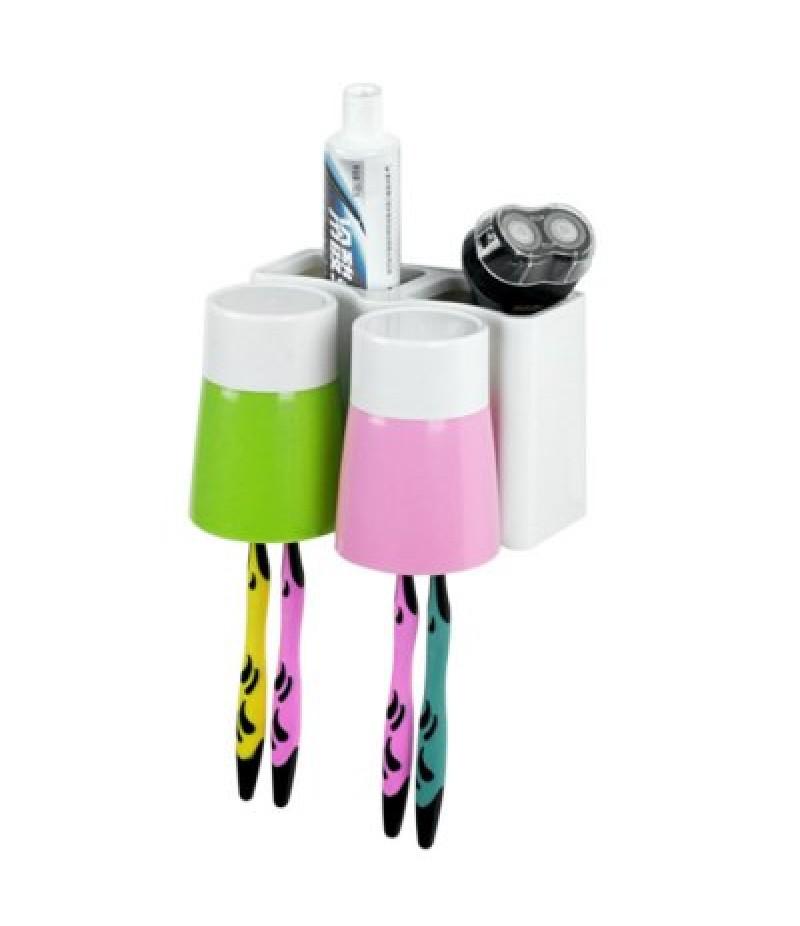 Plastic Toothbrush Holder with 2PCS Gargle Mug