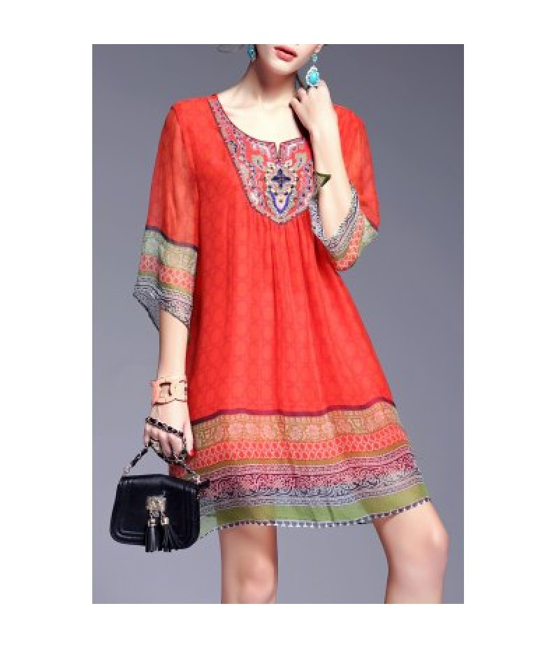 Ethnic Style Printed Beading Dress
