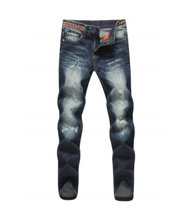 Modish Straight Leg Bleach Wash Zipper Fly Men's Ripped Jeans