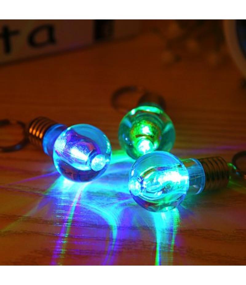 1pc LED Flash Keychain Glass Bulb Key Ring Toy
