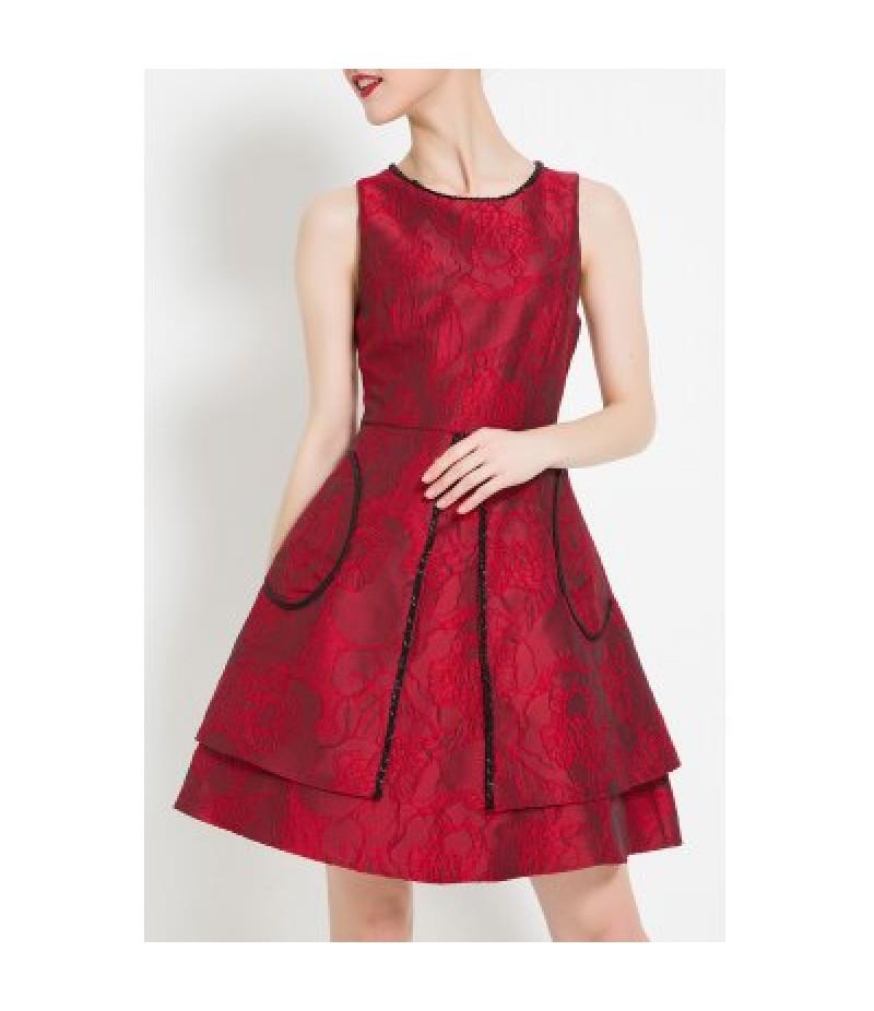 A Line Jacquard Mini Cocktail Dress