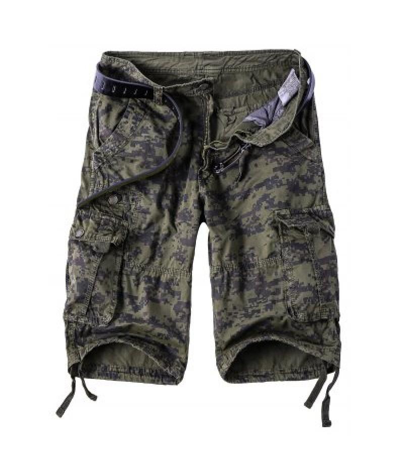 Camouflage Straight Leg Multi-Pocket Zipper Fly Cargo Shorts For Men