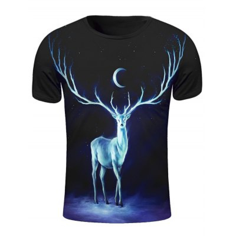 Round Neck 3D Starry Sky and Elk Print Short Sleeve Stylish T-Shirt For Men