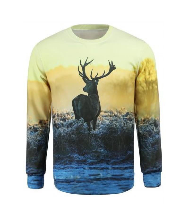 Round Collar Elk Printed Sweatshirt For Men