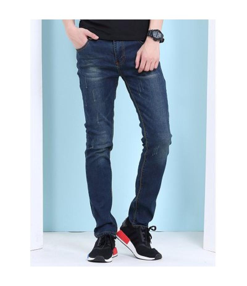 Cat's Whisker Print Zipper Fly Jeans For Men