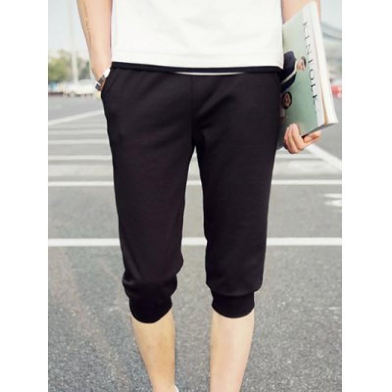 Elastic Waist Solid Color Letter Pattern Shorts For Men