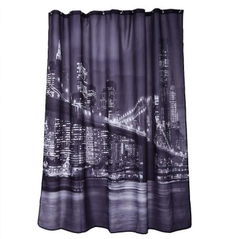 Waterproof City Night View Pattern Bathroom Curtain