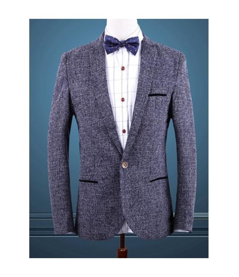Blue Melange Notch Lapels Single Button Opening Casual Blazer For Men